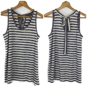 Market & Spruce Ivory and Blue Striped Tank Top M